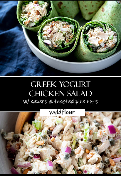 pinterest chicken salad pin with text overlay