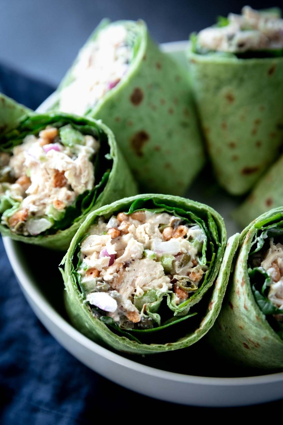 Close-up of filled greek yogurt chicken salad wraps