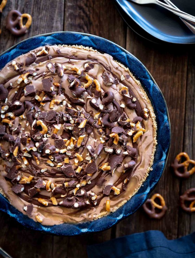 Overhead view of chocolate caramel peanut butter pretzel pie