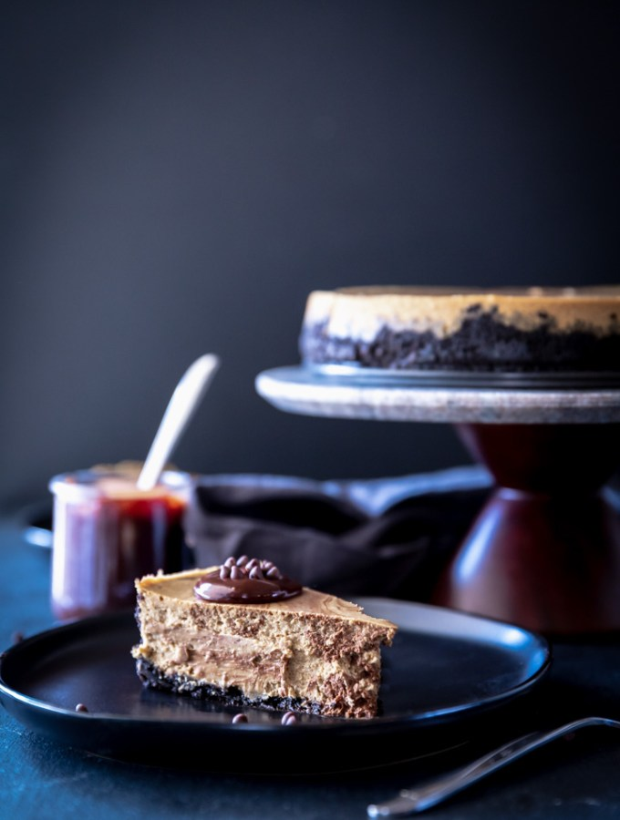 Close-up of a slice of coffee cheesecake