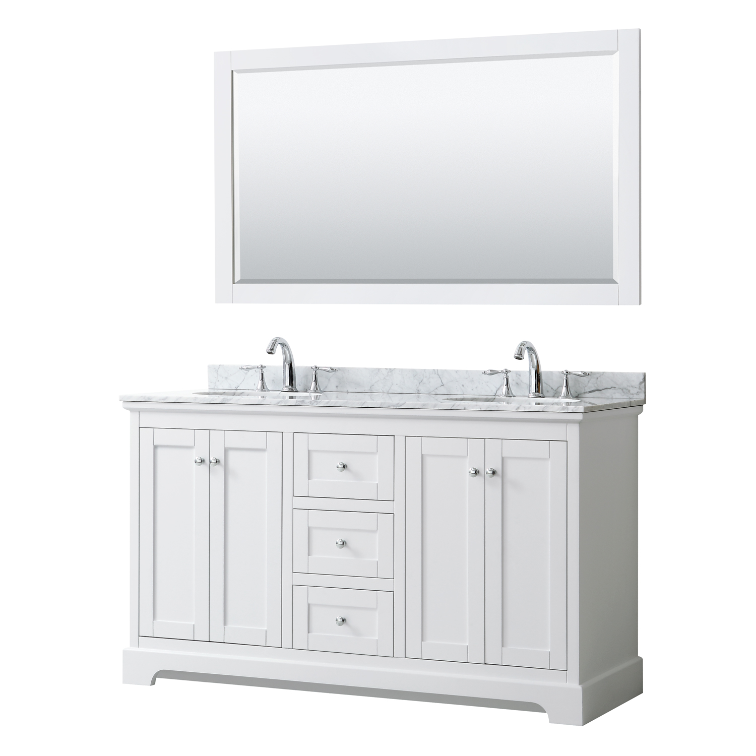 avery 60 double bathroom vanity by wyndham collection white
