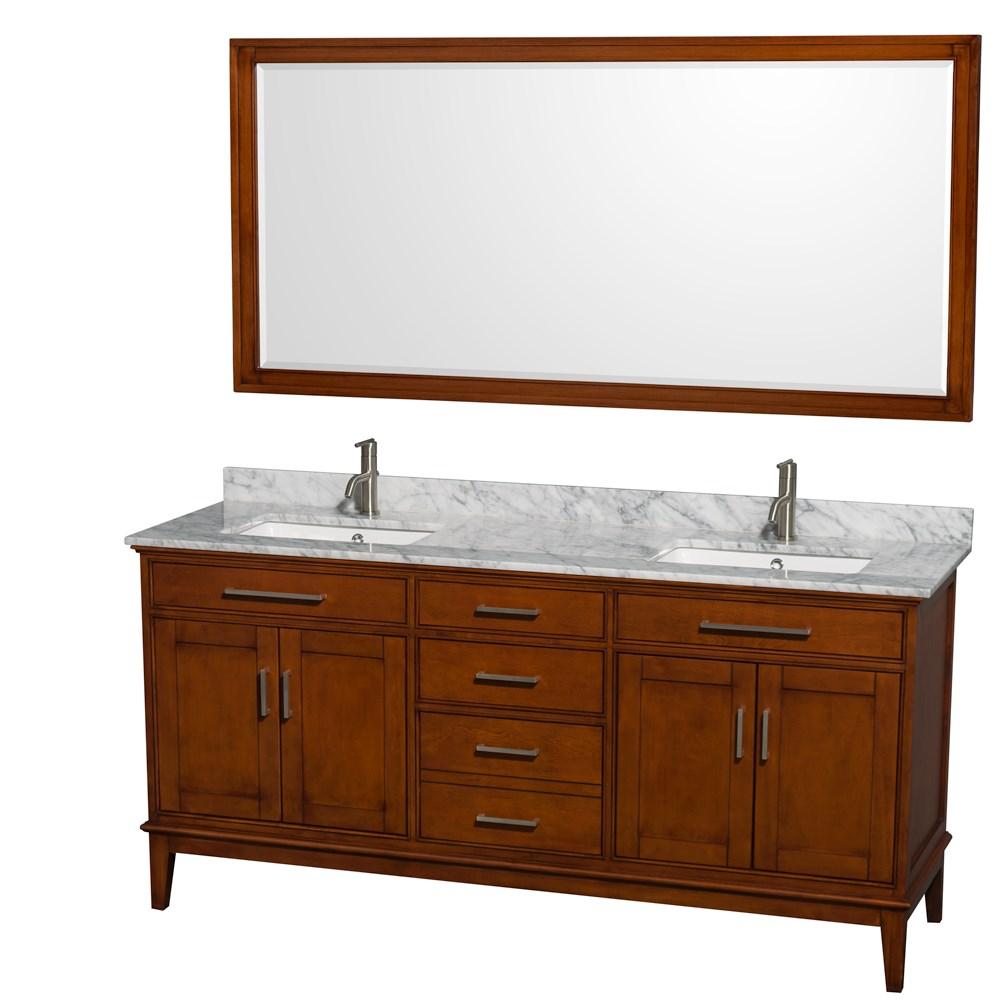hatton 72 double bathroom vanity light chestnut