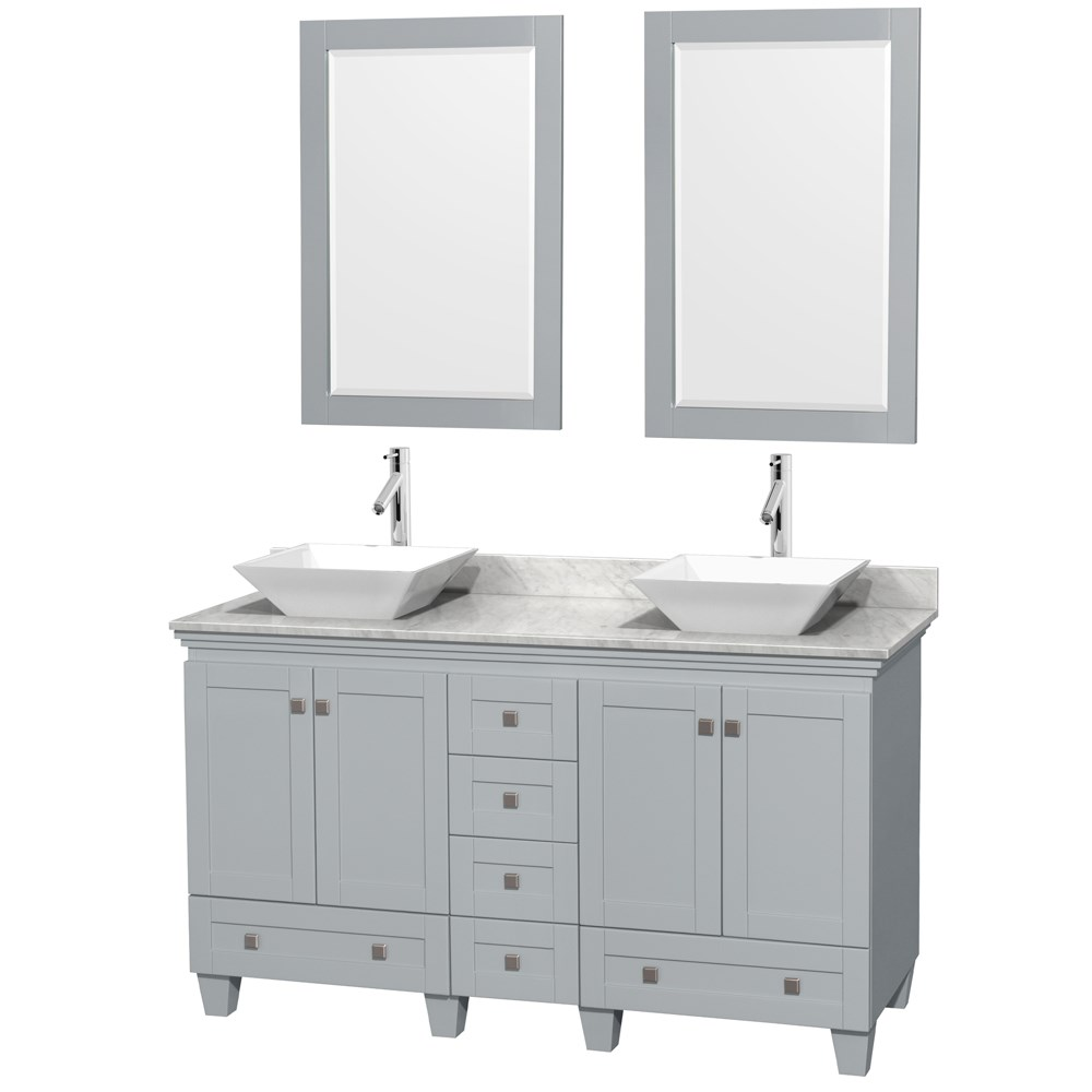 Acclaim 60 Double Bathroom Vanity For Vessel Sinks Oyster Gray Free Shipping Wyndham Collection