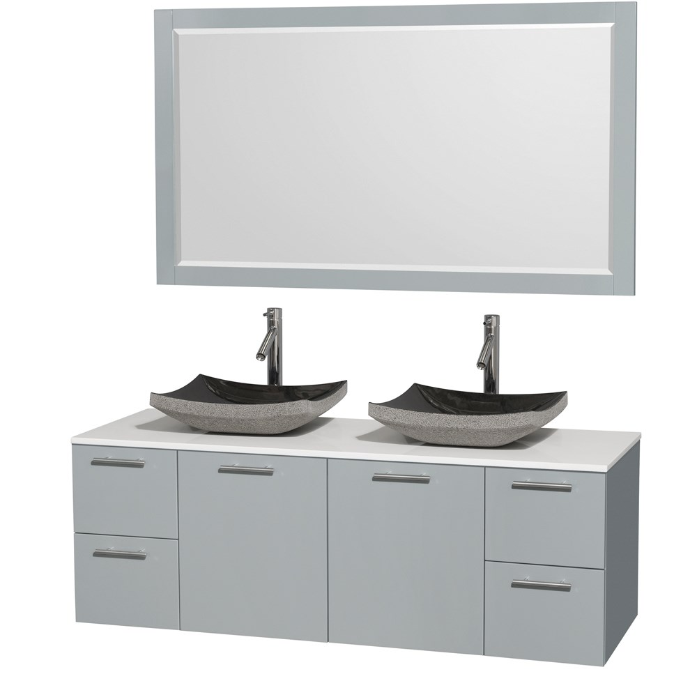 amare 60 wall mounted double bathroom vanity set with vessel sinks dove gray