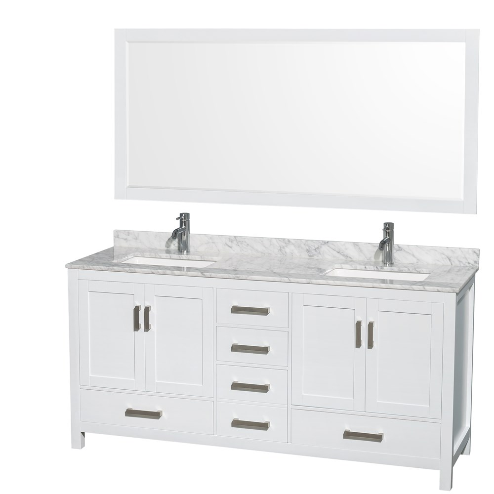 Sheffield 72 Double Bathroom Vanity White Free Shipping Wyndham Collection