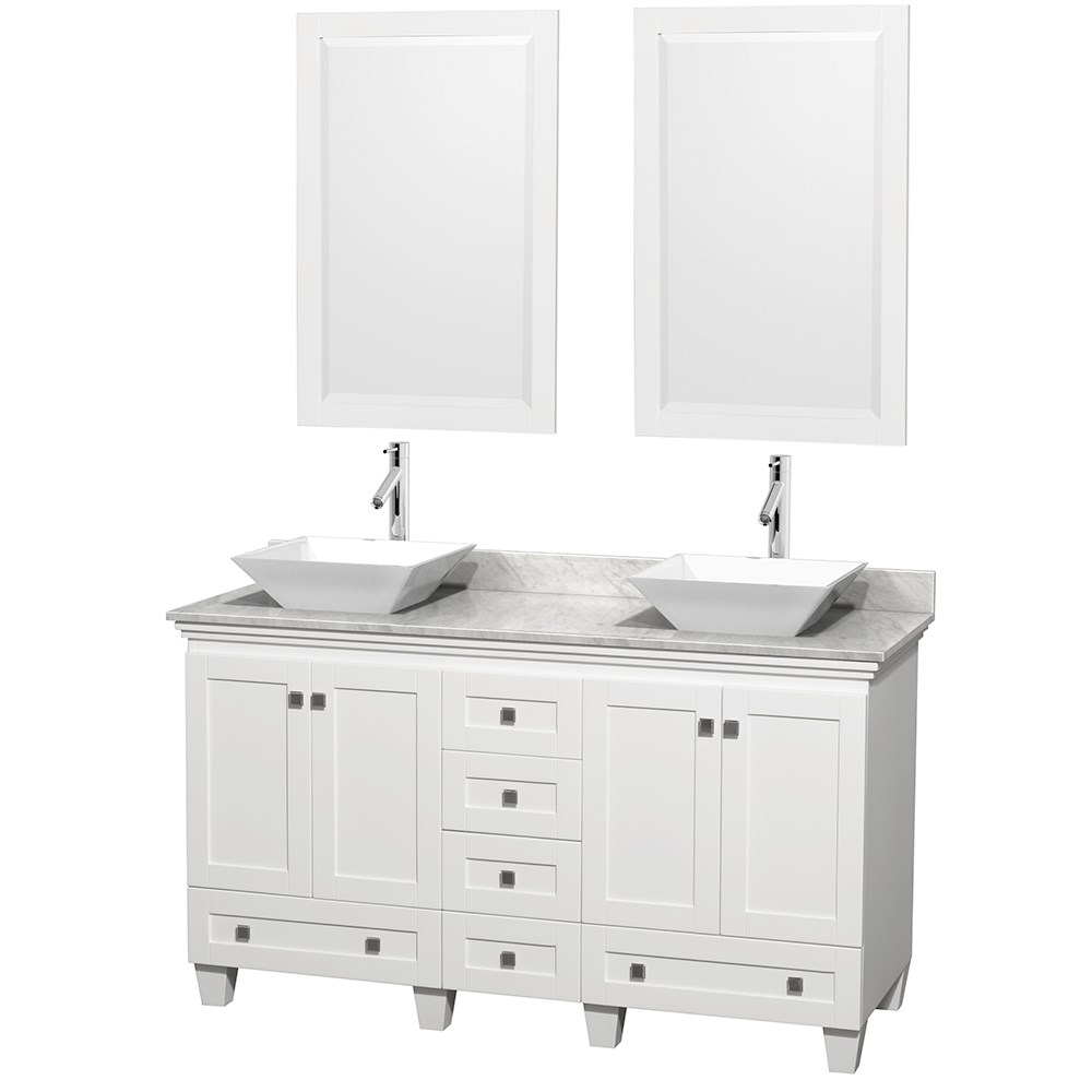 Acclaim 60 Double Bathroom Vanity For Vessel Sinks White Free Shipping Wyndham Collection