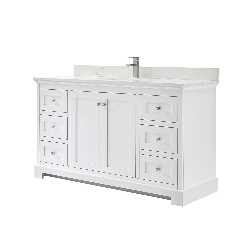 ryla 60 single bathroom vanity in white carrara cultured marble countertop undermount square sink and no mirror
