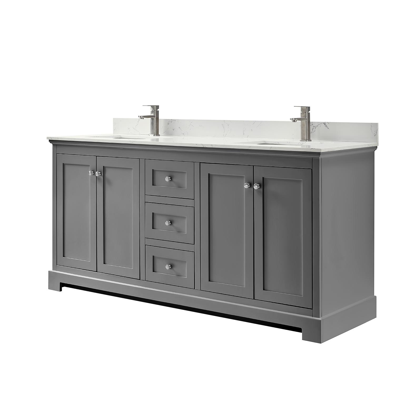 ryla 72 double bathroom vanity in dark gray carrara cultured marble countertop undermount square sinks and no mirror