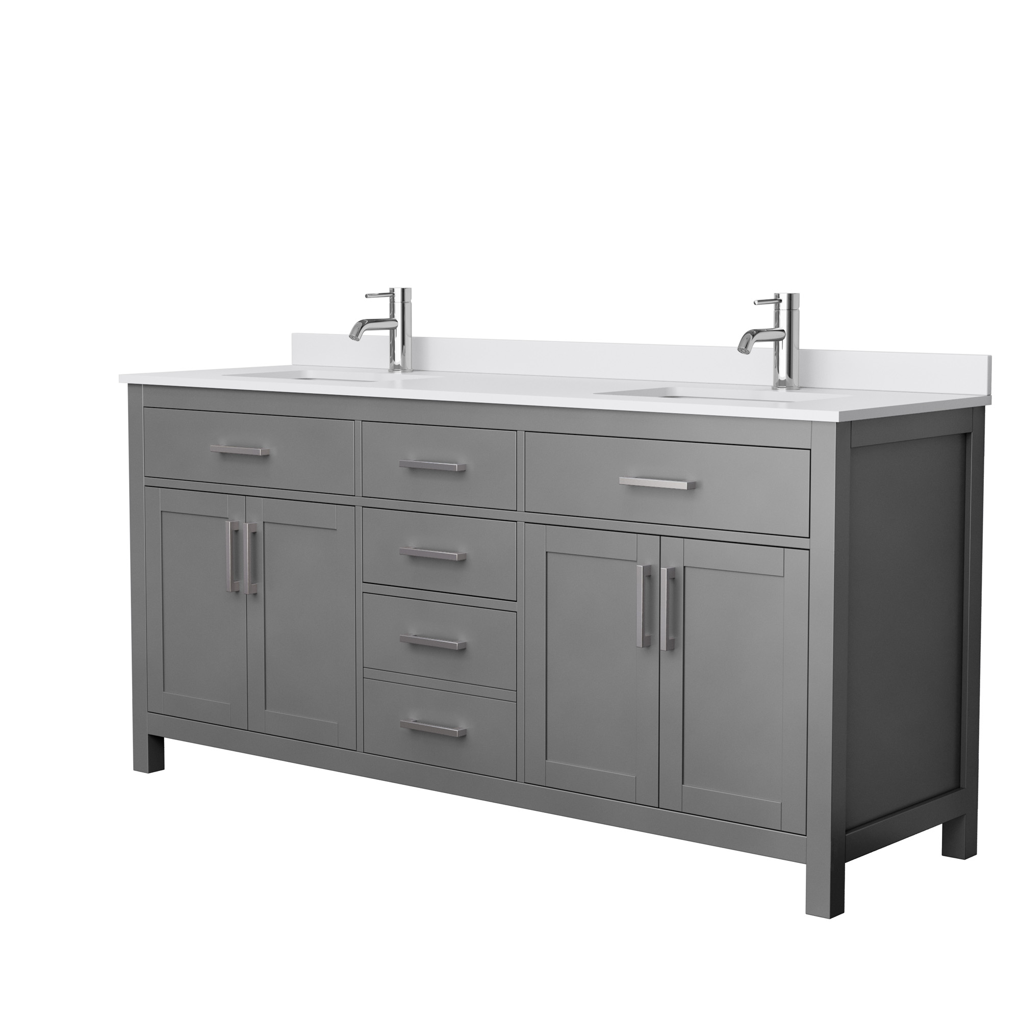beckett 72 double bathroom vanity in dark gray white cultured marble countertop undermount square sinks and no mirror