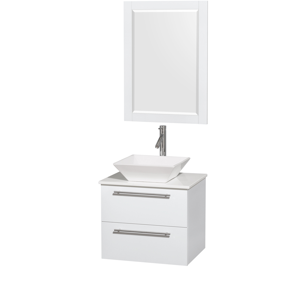 amare 24 wall mounted bathroom vanity set with vessel sink glossy white
