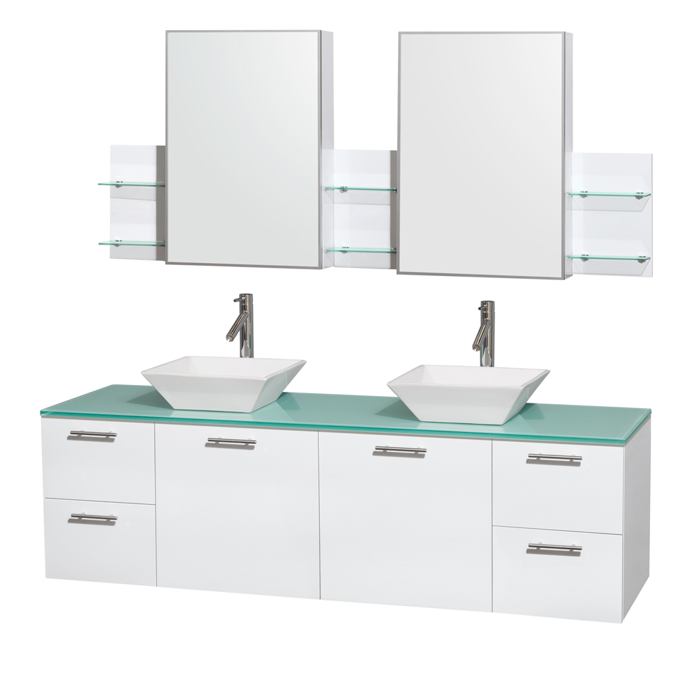 amare 72 wall mounted double bathroom vanity set with vessel sinks glossy white