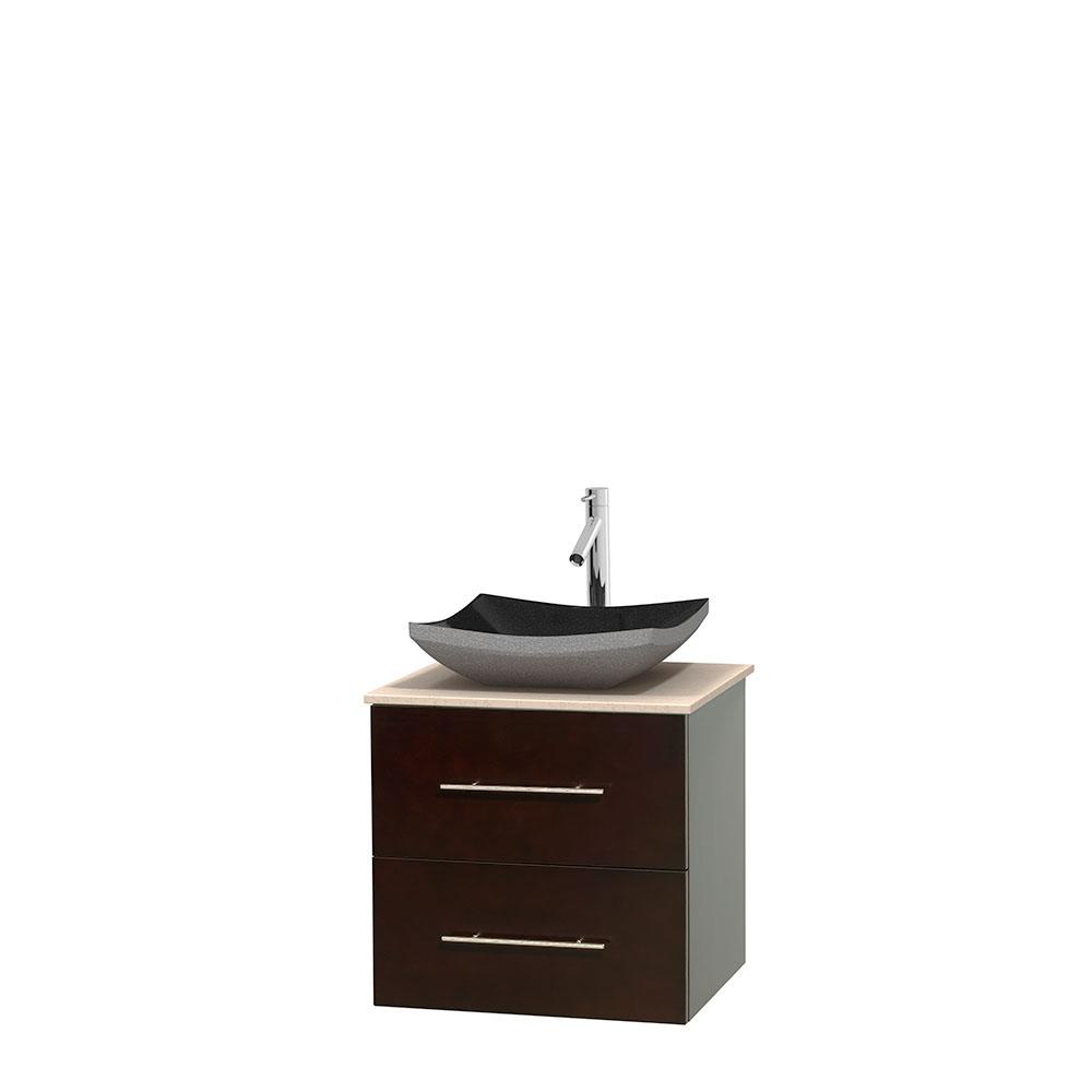 centra 24 single bathroom vanity for vessel sink espresso