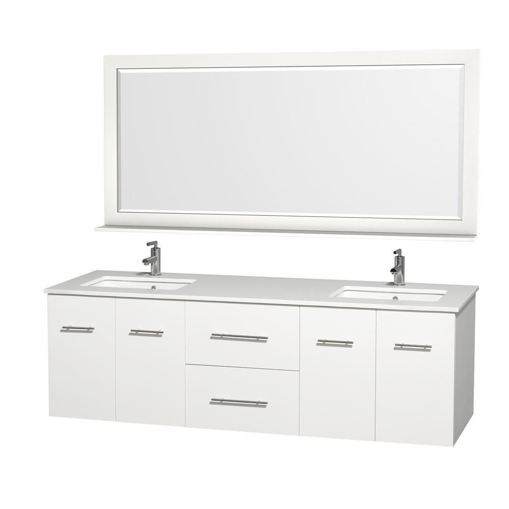 centra 72 double bathroom vanity for undermount sinks matte white