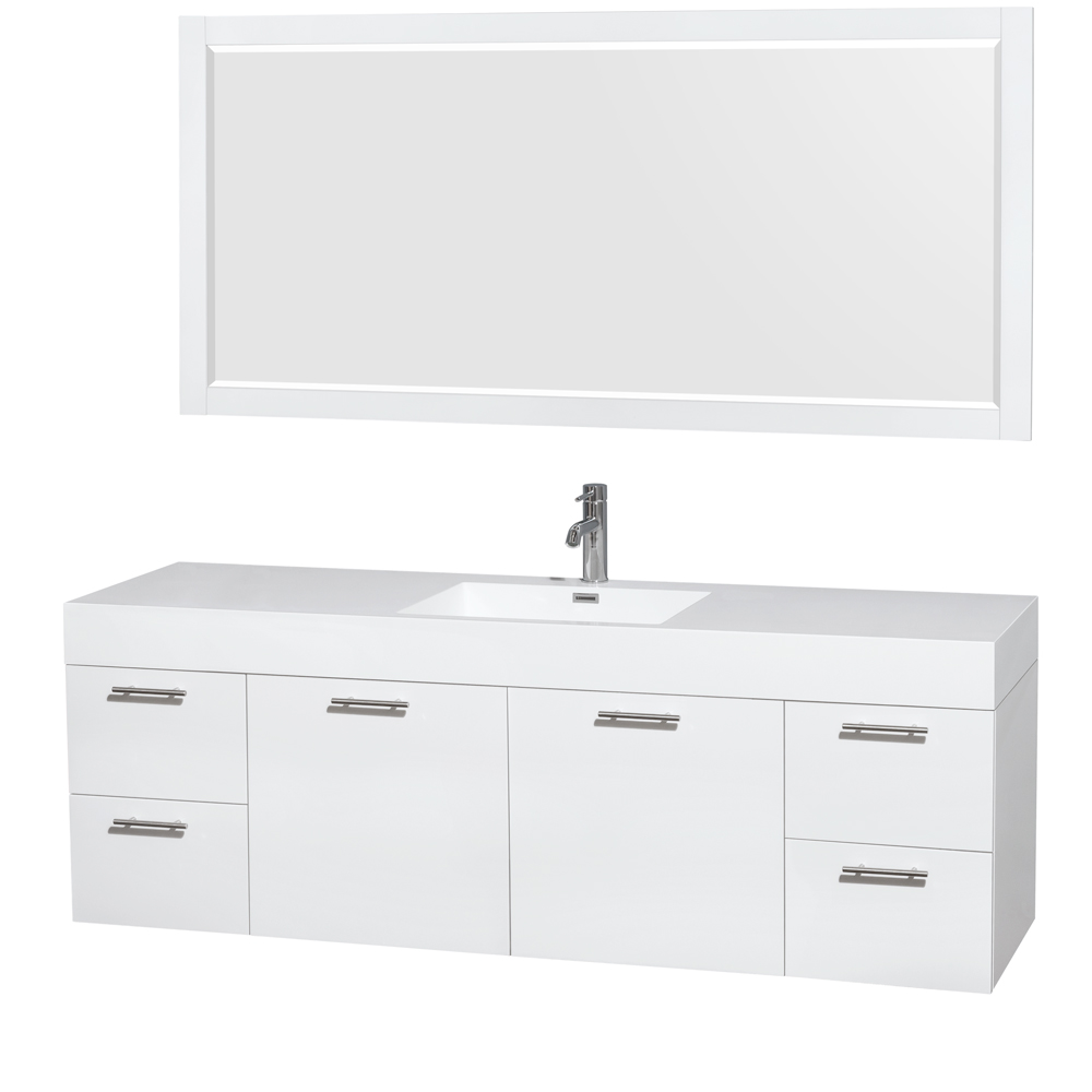 amare 72 single bathroom vanity in glossy white acrylic resin countertop integrated sink and 70 mirror