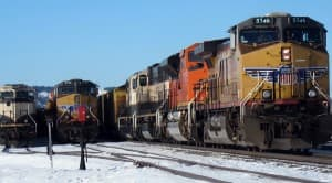 Wyoming is home to busy industrial train traffic. But local emergency management coordinators know little about what's going through towns on rail. (Dustin Bleizeffer/WyoFile — click to enlarge)