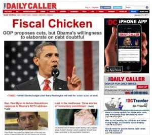 Foster Friess invested $3 million last year in the Daily Caller web site. (dailycaller.com —click to enlarge)