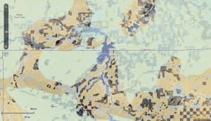 Map of Sage Grouse Core Areas in the Sweetwater-North Platte area in Wyoming