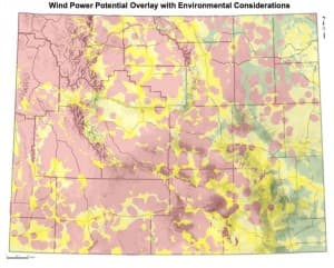 Wyoming Map of Wind Power Potential Overlap with Environmental Considerations