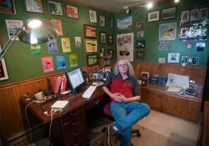 Tim Sandlin in his home office
