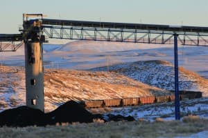 Coal cars snaking through the hills of Hanna