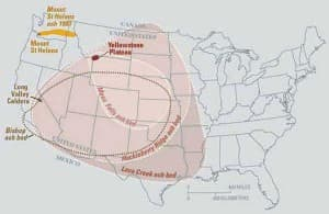 Previous ancient major volcanic super eruptions have spread ash over a wide region that would cover much of the United States.