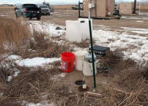 The Environment Protection Agency collects groundwater samples in Pavillion, WY, in January 2010.