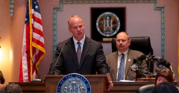 Wyoming governor Matt Mead delivers his 2013 State of the State address to Wyoming legislators at the state capitol on January 9, 2013