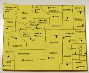 A map of mental health treatment providers in Wyoming
