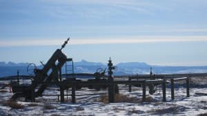 These pipelines are part of the heavy industrial natural gas field in the Pinedale Anticline. (Dustin Bleizeffer/WyoFile — click to enlarge)