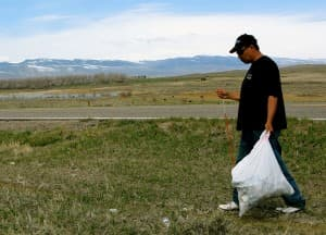 """Ira Eagle Road says life is good on the Wind River Indian Reservation.  """"There's trash,"""" he said. """"But there's the mountains. And there are jobs here, too."""""""