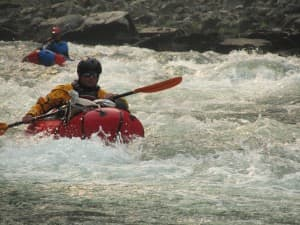 Jim Harris and Mike Curiak paddle the Salmon River during a packraft loop in 2012 that included the Main Salmon River, the South Fork, Big Creek, and the Middle Fork. (Photo Courtesy Thomas Turiano)