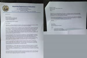 Jim Rose, interim director of the state department of education, hand-delivered this letter to Fremont #38 so that board members could ask about sanctions related to the missed audit deadline. (Click to enlarge)