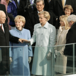 Mary Cheney holds a bible during Dick Cheney's second swearing in as vice president in 2005. (White House Photo)
