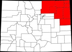 A map of Colorado identifies the counties that have discussed secession (in red) to create a new state of North Colorado. (Wikimedia Commons — click to enlarge)