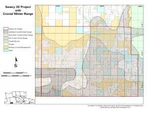 The Savery 3D seismic project by GRMR Oil & Gas spans 136.5 square miles, including critical wildlife habitat. (Courtesy Wyoming BLM — click to enlarge)
