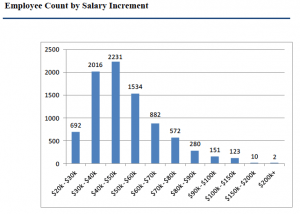 The majority of Wyoming state salaries are under $50,000. When benefits are included full compensation approaches $75,000. (Wyoming Department of Administration and Information — click to enlarge)