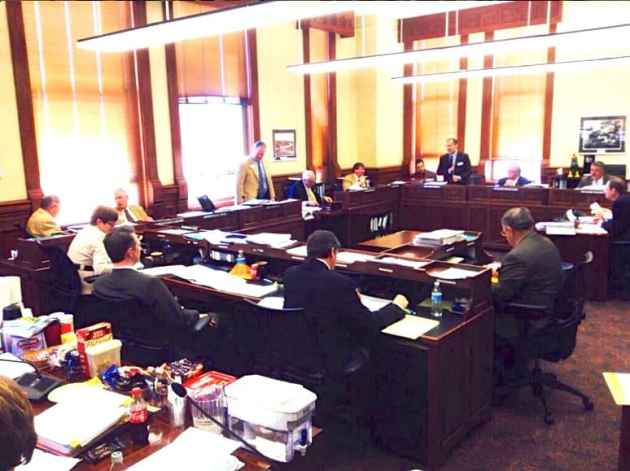 Wyoming lawmakers met until after 8 pm on February 26 to craft compromises on the budget bill for 2015-2016. (WyoFile/Gregory Nickerson — click to enlarge)