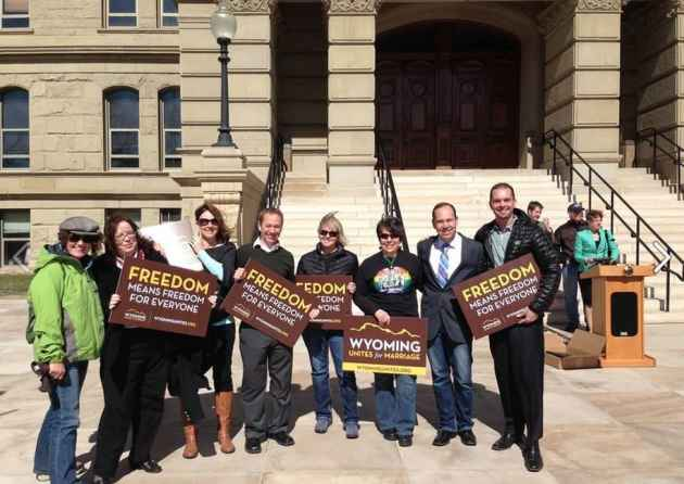 Advocates of same-sex marriage stand in front of the Wyoming Capitol at a rally in support of the Courage v. Wyoming court case. (Wyoming Unites for Marriage — click to enlarge)