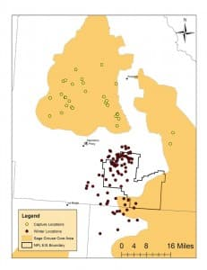 A map shows where researchers tagged grouse in core areas and how they ended up flocking to the Normally Pressured Lance gas field in the winter. (Wyoming Chapter of The Wildlife Society — click to enlarge)
