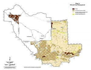 """Oil and gas management nso - map 11. """"Among the hallmarks of the Lander BLM plan is a ban to oil and gas leasing and development in a significant area near Dubois, shown in burgundy at the top of this map. Energy companies also would have to drill directionally from outside the dark brown """"no surface occupancy"""" areas where oil and gas leasing would be permitted but surface development prohibited. (click to enlarge)"""