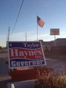 A sign advertises Taylor Haynes' campaign. (courtesy photo — click to enlarge)