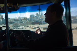 Darin Howe guides a bus tour through the Simplot fertilizer plant near Rock Springs on Thursday, June 5, 2014. The plant would use ammonia from a $350 million factory planned next door.