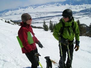 Courtemanch contacted 800 backcountry users at 11 access points in the Teton Range in winters 2009 and 2010 and asked them to carry handheld GPS units for the day. (Photo courtesy of Tim Lyons — click to enlarge)