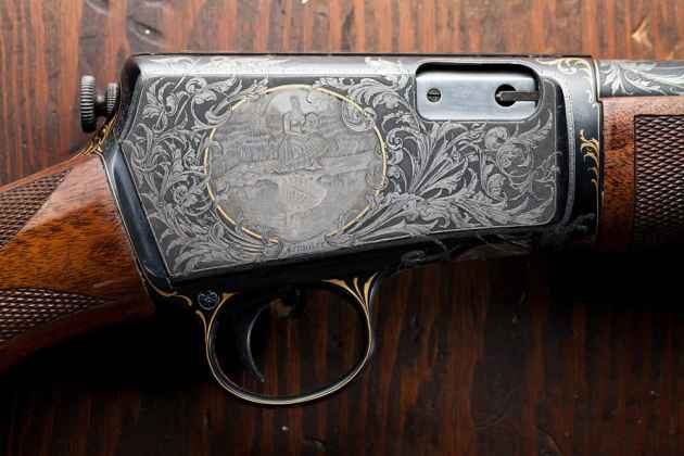 Jim Blair of Glenrock is an engraver people hire to ornately decorate their firearms. (photo by Peter Gibbons - click to enlarge)
