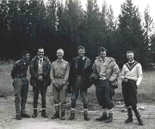 Ted Wilson, Pete Sinclair, Ralph Tingey, Mike Ermarth, Rick Reese, Bob Irvine together after the 1967 North Face rescue. (click to enlarge)