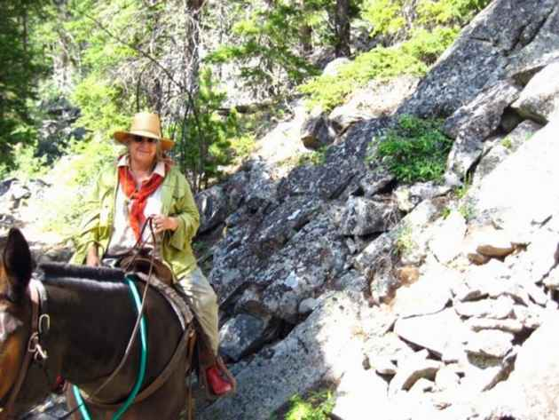 Liz Howell heads into Rock Creek in the Bighorn Mountains. The area was not included in the 1984 Wyoming Wilderness Act. Howell hopes it could still get wilderness designation. (courtesy Liz Howell — click to enlarge)
