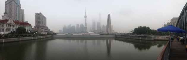 """This view of """"The Bund"""" in Shanghai reveals ongoing air quality problems in China's cities, which is mostly the cause of burning fossil fuels. (Dustin Bleizeffer/WyoFile — click to enlarge)"""