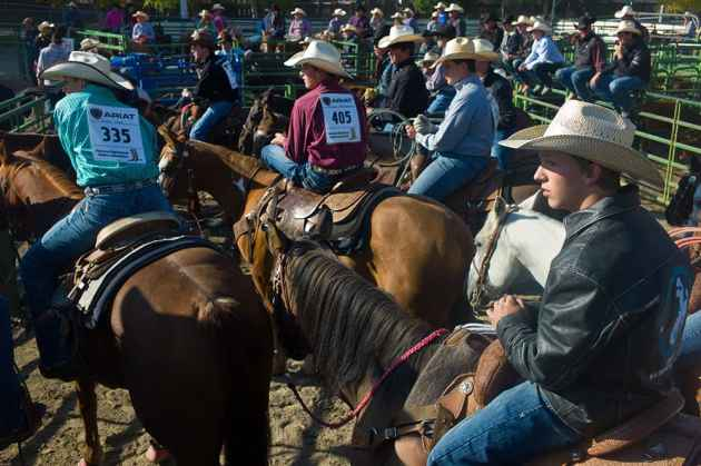 Young ropers look into the morning sun as they watch fellow competitors at the high school rodeo in Jackson on Sunday. Scores of families trailered their mounts and saddles to the weekend event that showed off the budding horsemanship of Wyoming's next generation. (Angus M. Thuermer Jr/WyoFile)