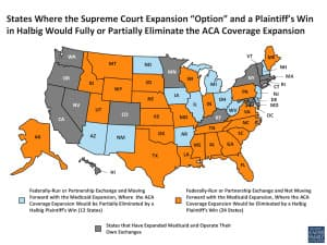 The Halbig case could disrupt Medicaid expansion plans in states that operate under a federal exchange. Wyoming is one of these states. (Kaiser Foundation — click to enlarge)