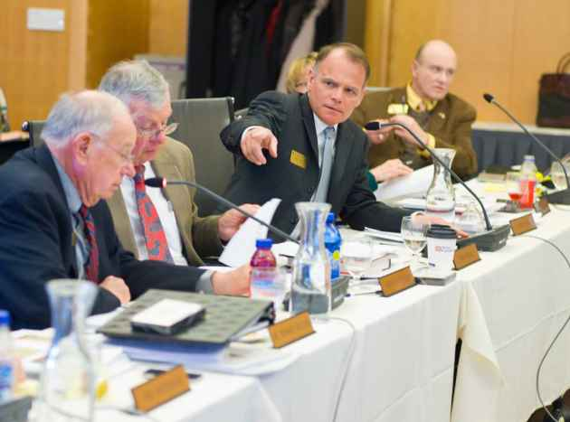 Of the five UW trustees in this picture, only one is guaranteed to be on the board next year. Dr. Howard Wilson, left, faces reappointment, as does Betty Fear (partially obscured). Brad Mead, center, could not be reappointed if his brother is reelected governor. Warren Lauer, right, died last week. John MacPherson, second from left, is currently vice president of the board and should serve through 2017. (Angus M. Thuermer Jr./WyoFile — click to enlarge)